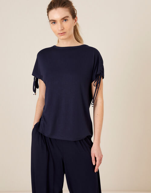 LOUNGE Ruched Sleeve T-Shirt, Blue (NAVY), large