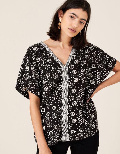 ARTISAN STUDIO Batik Print Top, Black (BLACK), large