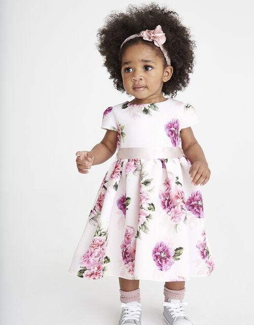 Baby Deena Floral Scuba Dress, Pink (PINK), large