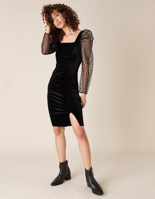 Jane Star Organza Sleeve Stretch Velvet Dress, Black (BLACK), large