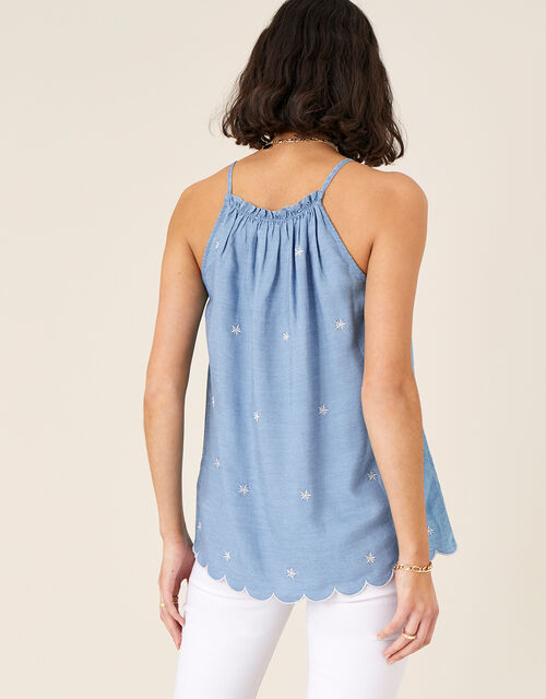 Scallop Cami in LENZING™ TENCEL™, Blue (BLUE), large