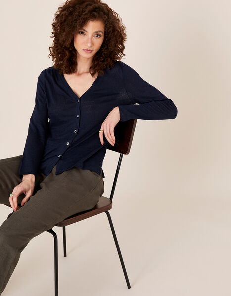 Button-Through Top in Pure Linen Blue, Blue (NAVY), large