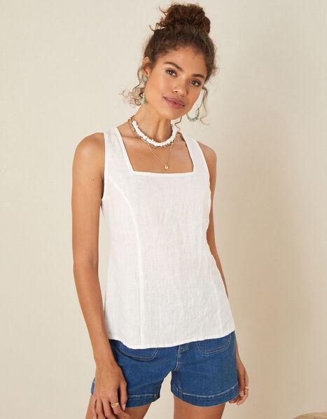 Square Neck Cami Top White, White (WHITE), large