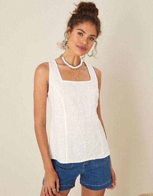 Square Neck Cami Top, White (WHITE), large
