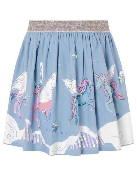 Sequin Cloud Unicorn Skirt Blue, Blue (BLUE), large