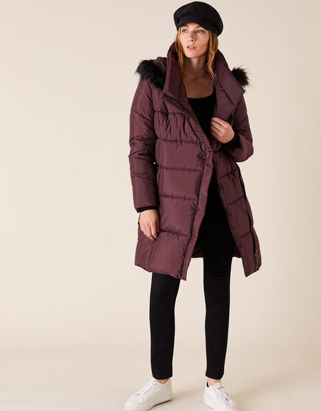 Patsy Long Padded Coat in Recycled Fabric Brown, Brown (CHOCOLATE), large