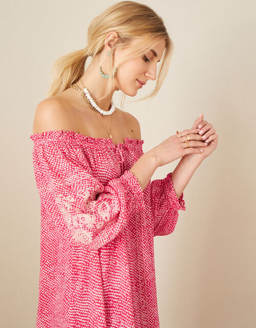 Anastasija Printed Off-Shoulder Dress, Pink (PINK), large