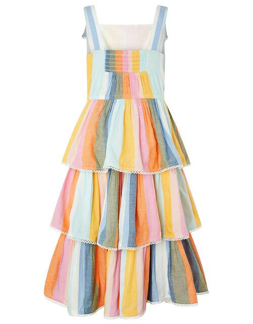 Molly Striped Midi Dress in Linen Blend, Multi (MULTI), large