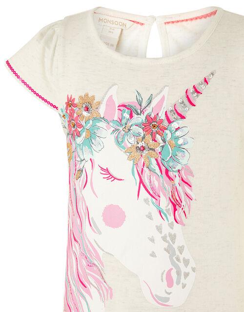 Unicorn Floral T-Shirt, Camel (OATMEAL), large