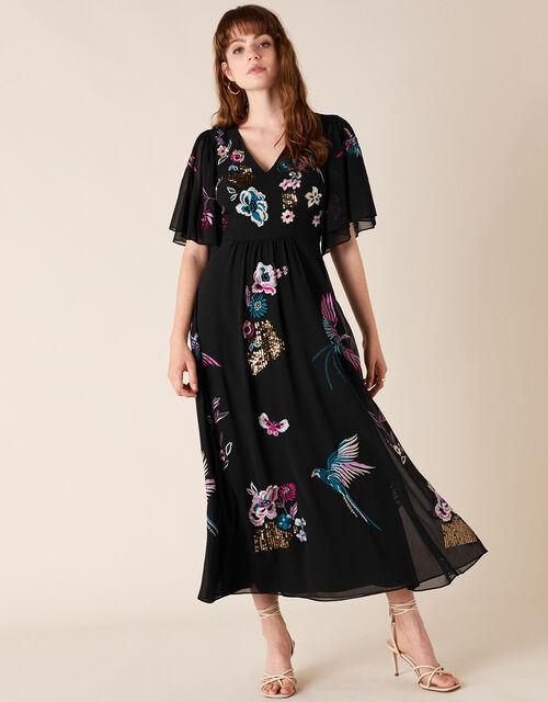 Perrie Embroidered Midi Dress, Black (BLACK), large