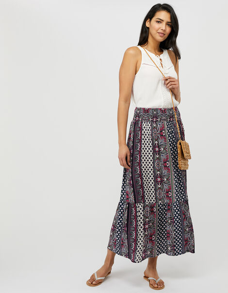 Aditi Printed Midi Skirt in LENZING™ ECOVERO™ Blue, Blue (NAVY), large