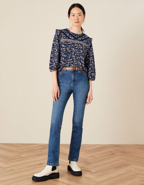 Lace Trim Printed Top Blue, Blue (NAVY), large