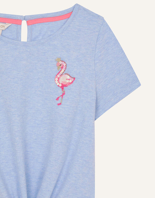 Sequin Flamingo Tie Front Top, Blue (BLUE), large