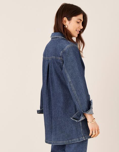 Longline Denim Jacket Blue, Blue (DENIM BLUE), large