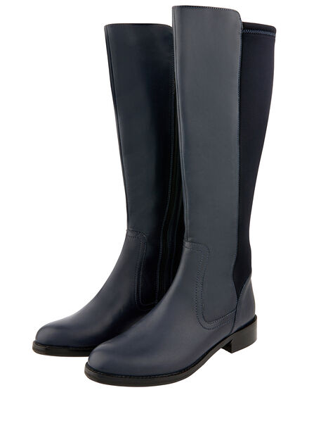 Olive Long Stretch Leather Boots Blue, Blue (NAVY), large