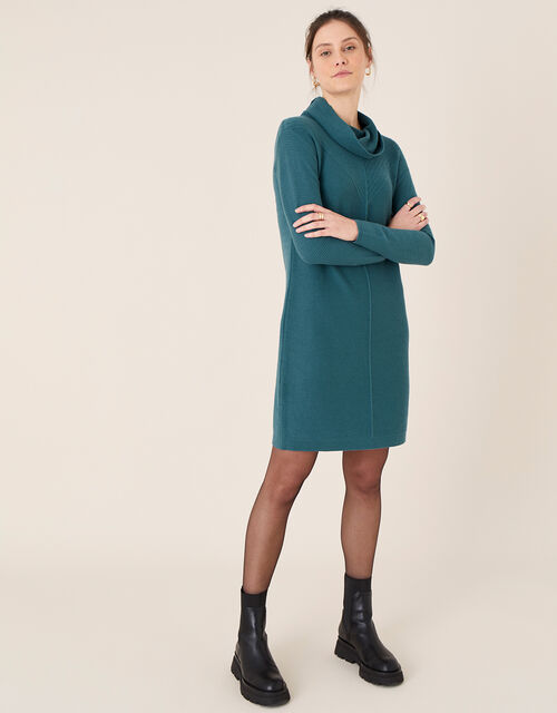 Cali Cowl Neck Knit Dress, Teal (TEAL), large