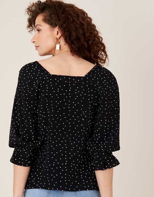 Spot Frill Blouse in Sustainable Viscose, Black (BLACK), large