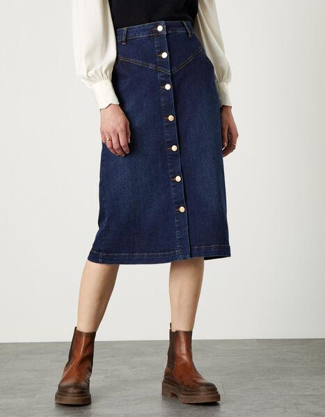 Denim Button Through Midi Skirt Blue, Blue (DENIM BLUE), large