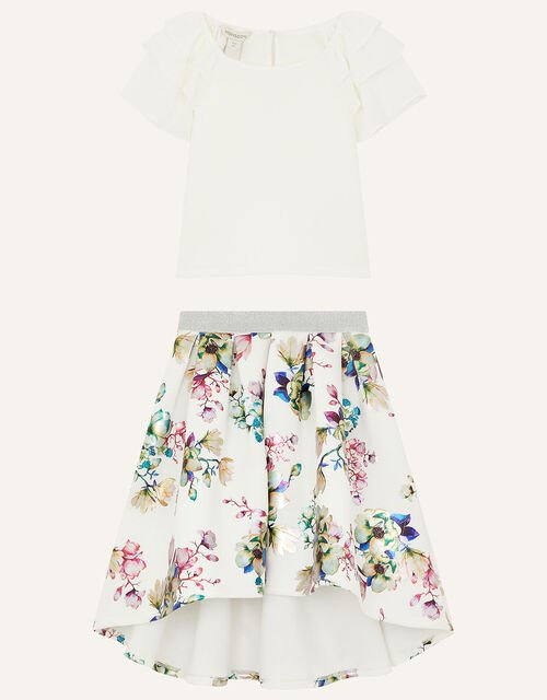 Chiffon Top and Floral Scuba Skirt Set, Ivory (IVORY), large