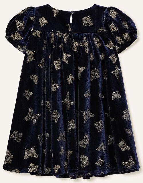 Baby Glitter Butterfly Velvet Dress, Blue (NAVY), large
