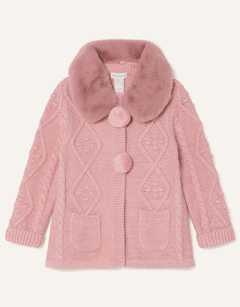 Baby Fluffy Collar Knit Cardigan Pink, Pink (PINK), large
