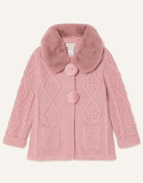 Baby Fluffy Collar Knit Cardigan, Pink (PINK), large