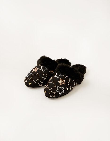 Sequin Star Faux Fur Slippers Black, Black (BLACK), large