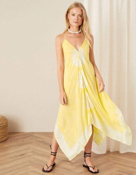 Kali Tie Dye Hanky Hem Dress  Yellow, Yellow (YELLOW), large