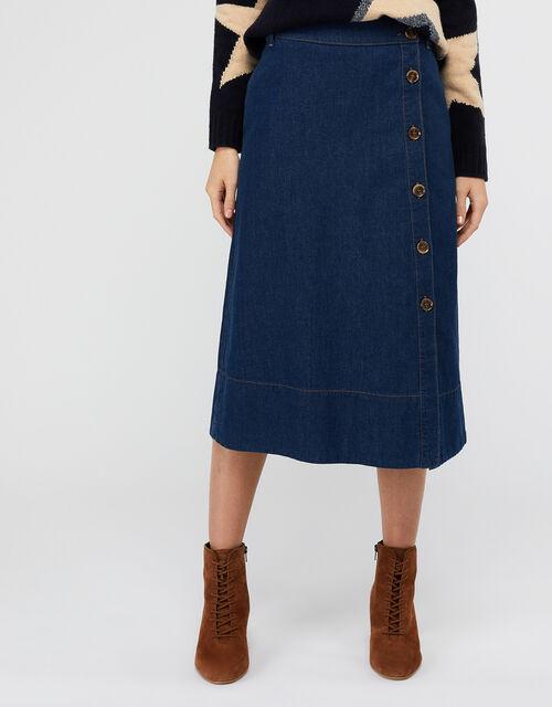 Maya Midi Denim Skirt, Blue (DENIM BLUE), large