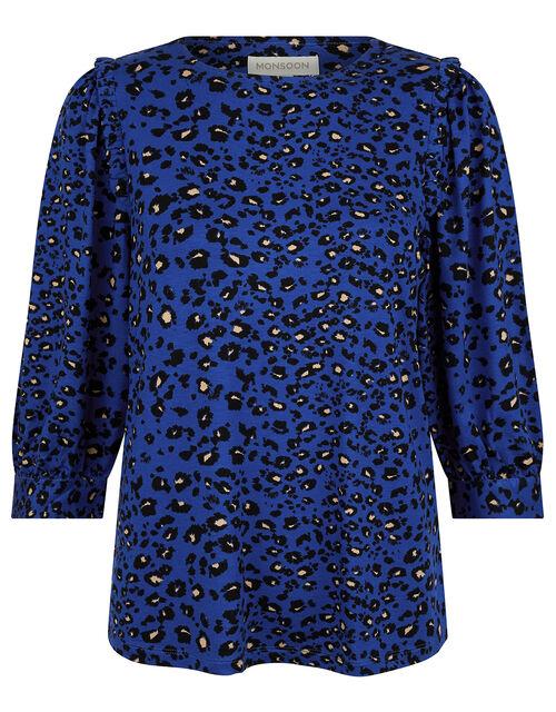 Animal Print Jersey Top, Blue (COBALT), large