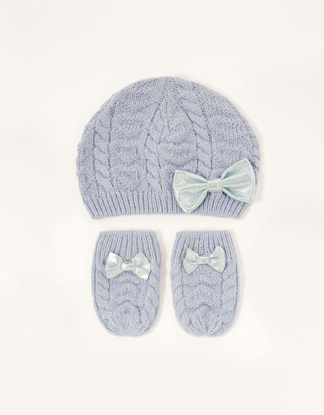 Baby Belle Beanie and Mittens Set Blue, Blue (BLUE), large