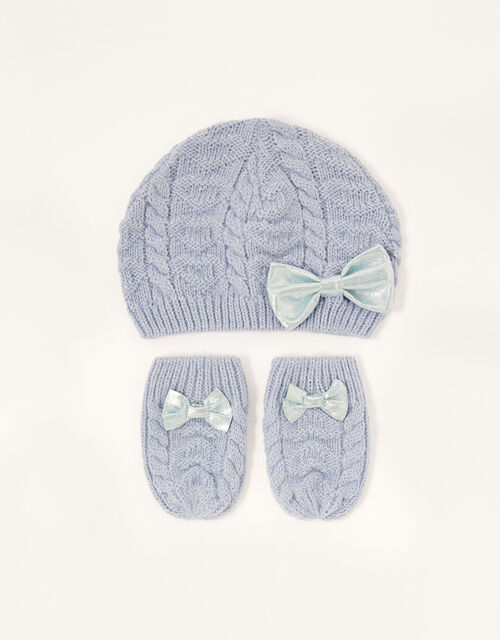 Baby Belle Beanie and Mittens Set, Blue (BLUE), large