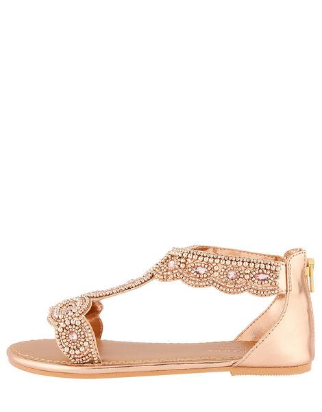 Embellished Metallic Sandals Gold, Gold (ROSE GOLD), large