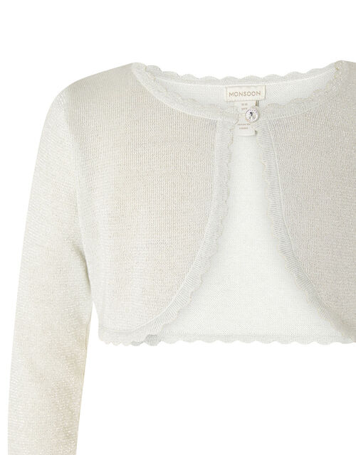 Niamh Shimmer Crop Cardigan, Silver (SILVER), large