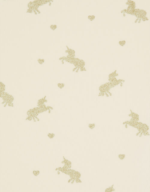 Sparkly Unicorn and Heart Tights, Gold (GOLD), large