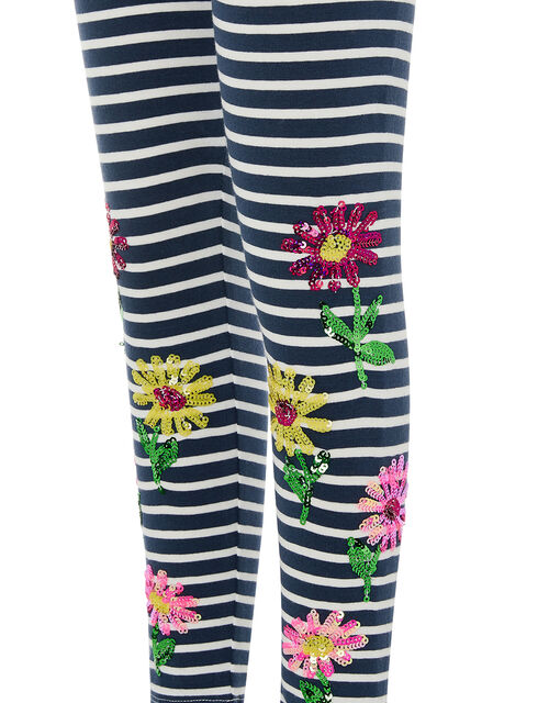 Sequin Stripe Flower Leggings, Blue (NAVY), large