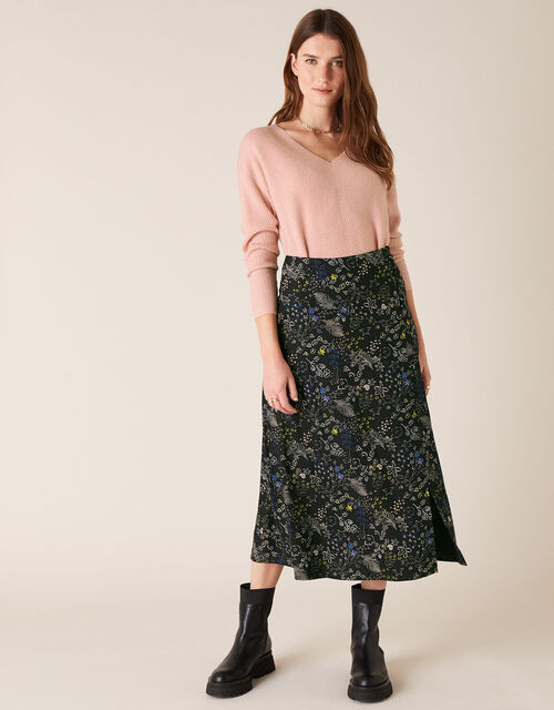 Printed Midi Skirt, Black (BLACK), large