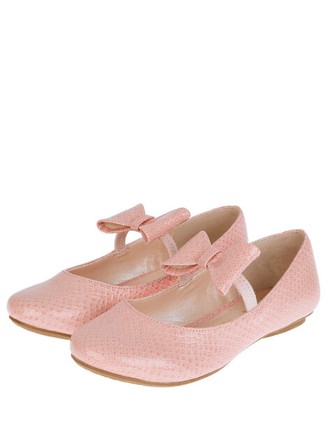 Adilynn Bow Croc Ballerina Flats Pink, Pink (PINK), large