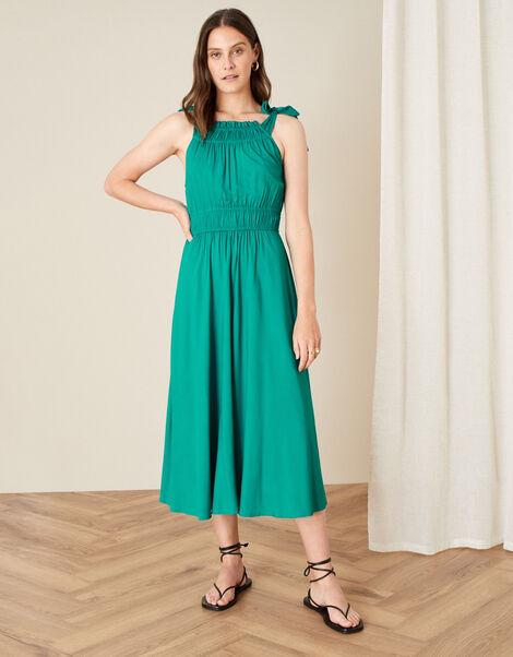 Plain Halter Midi Dress  Green, Green (GREEN), large