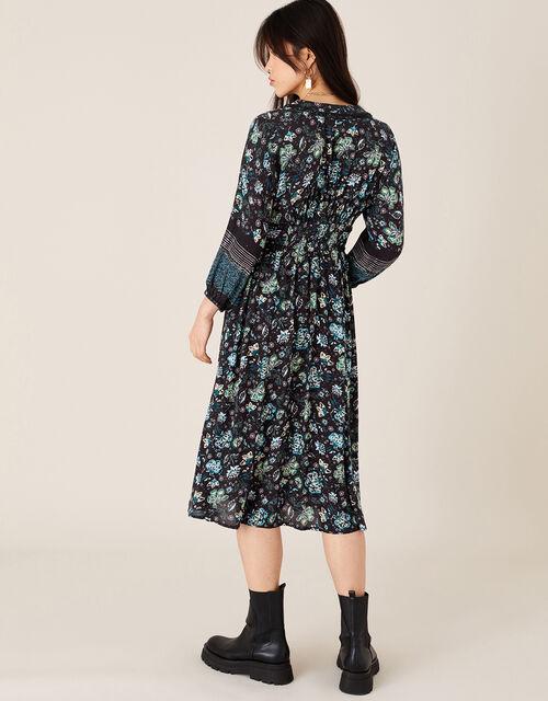 Floral Midi Dress in LENZING™ ECOVERO™, Black (BLACK), large