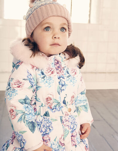 Baby Floral Padded Puffball Coat Pink, Pink (PALE PINK), large