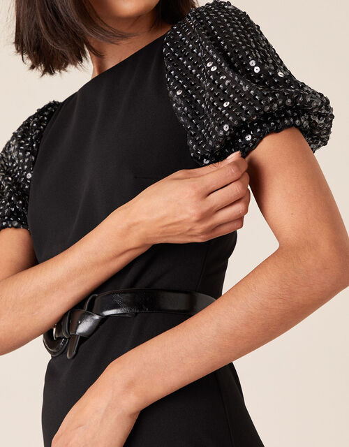 Brianna Sequin Sleeve Jersey Midi Dress, Black (BLACK), large