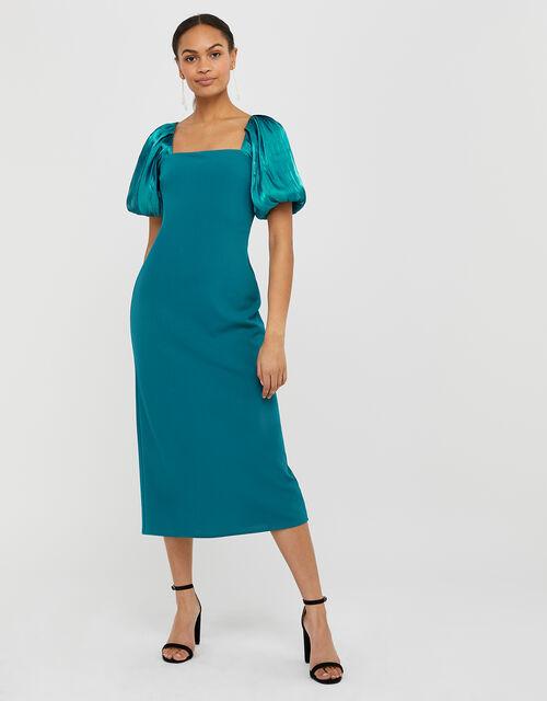 Eliza Organza Puff Sleeve Midi Dress, Teal (TEAL), large