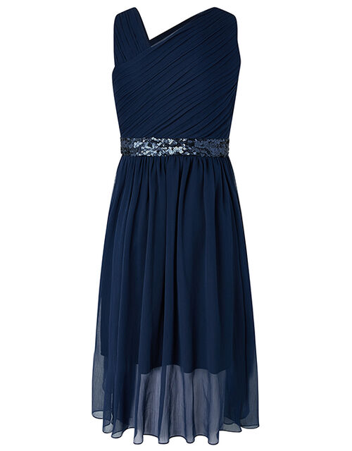 Abigail One Shoulder Prom Dress, Blue (NAVY), large