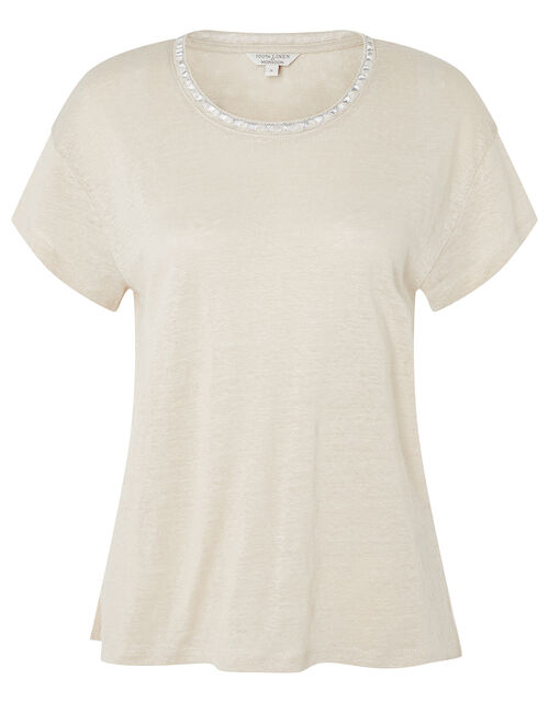 Scoop Neck T-Shirt in Pure Linen, Natural (STONE), large