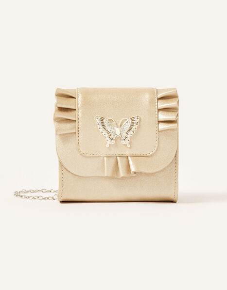 Diamante Butterfly Frill Bag, , large