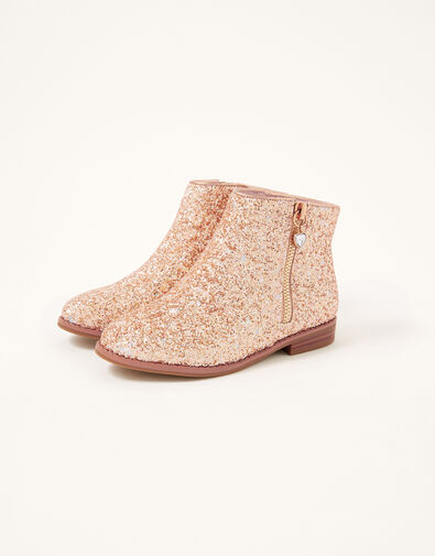 Side Zip Glitter Boots Gold, Gold (ROSE GOLD), large