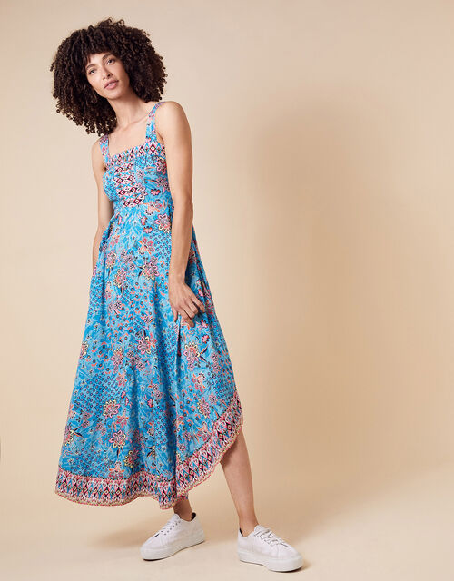 Printed Midi Dress in LENZING™ ECOVERO™, Blue (BLUE), large