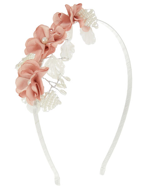 Pearl and Flower Headband, , large