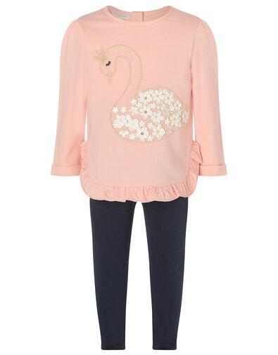 Baby Swan Sweatshirt and Leggings Set Pink, Pink (PINK), large